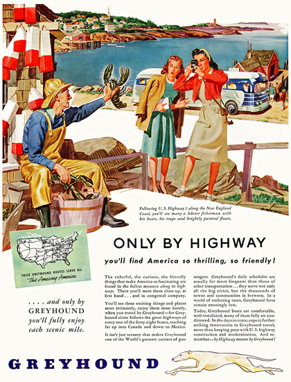 Greyhound America Thrilling Friendly 1946 | Vintage Travel Posters 1891-1970