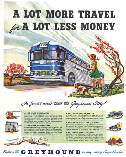 Greyhound Autumn Wind Fall More Travel 1949 | Vintage Travel Posters 1891-1970