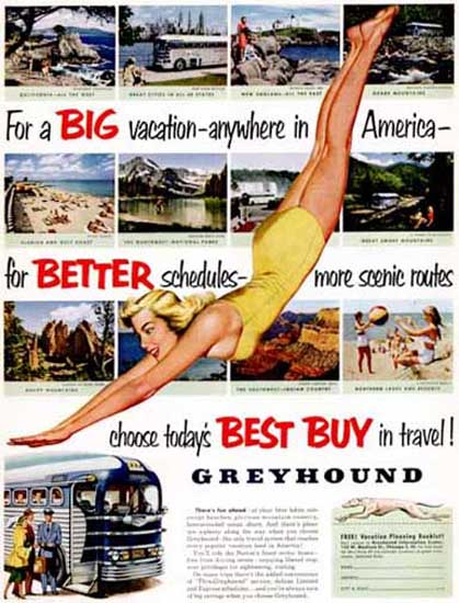 Greyhound Best Buy In Travel 1952 Swim Suit Girl | Sex Appeal Vintage Ads and Covers 1891-1970