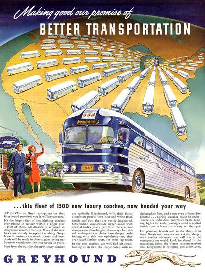Greyhound Better Transportation 1947 | Vintage Travel Posters 1891-1970