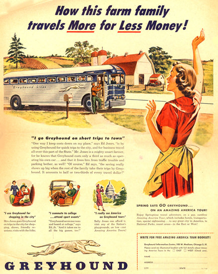 Greyhound Farm Family Travels More 1950 | Vintage Travel Posters 1891-1970