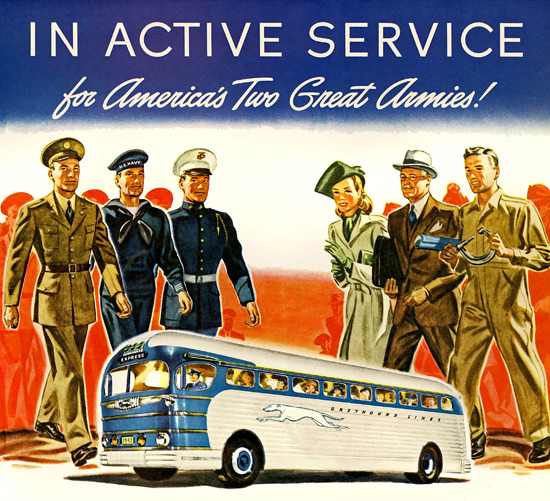 Greyhound For Americas Two Great Armies 1942 | Vintage War Propaganda Posters 1891-1970