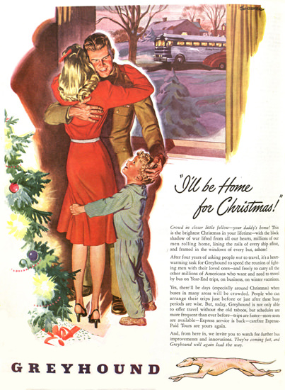 Greyhound Ill Be Home For Christmas 1946   Vintage Travel Posters 1891-1970