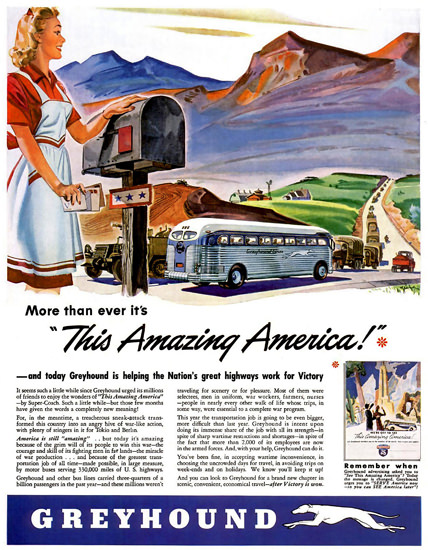Greyhound Its This Amazing America 1943 | Vintage Travel Posters 1891-1970