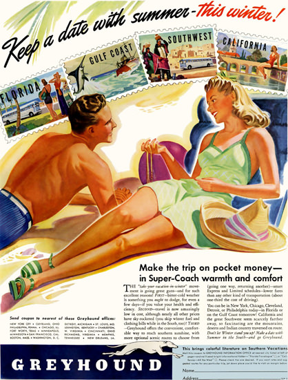 Greyhound Keep A Date With Summer 1941 | Sex Appeal Vintage Ads and Covers 1891-1970