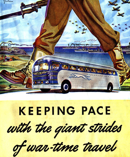 Greyhound Keeping Pace With War Travel 1942 | Vintage War Propaganda Posters 1891-1970