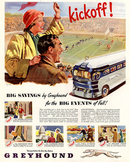 Greyhound Kickoff For Big Events Of Fall 1948 | Vintage Travel Posters 1891-1970
