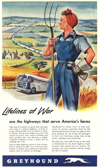 Greyhound Lifelines Of War 1944 Farmer Woman | Sex Appeal Vintage Ads and Covers 1891-1970