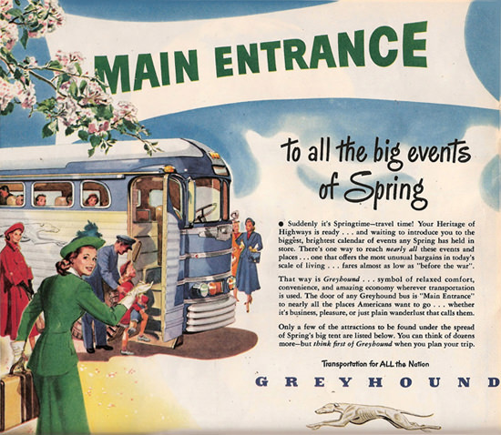 Greyhound Main Entrance All Big Events 1948 | Vintage Travel Posters 1891-1970