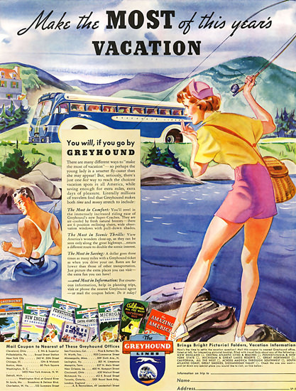Greyhound Make The Most Of Vacation 1937 | Sex Appeal Vintage Ads and Covers 1891-1970