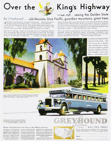 Greyhound Over The Kings Highway 1930s | Vintage Travel Posters 1891-1970