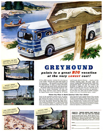 Greyhound Points To A Great Big Vacation 1950 | Vintage Travel Posters 1891-1970
