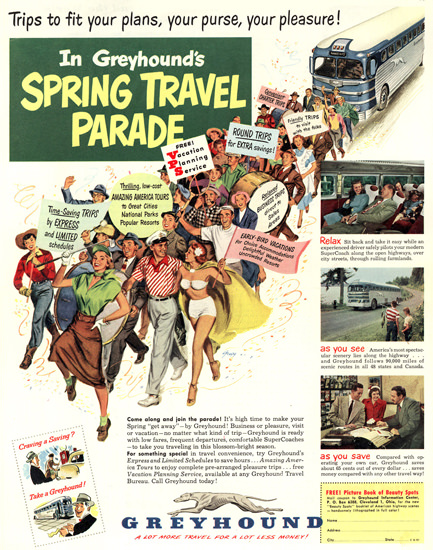 Greyhound Spring Travel Parade 1951 | Sex Appeal Vintage Ads and Covers 1891-1970