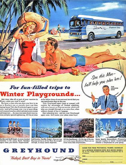 Greyhound Winter Playgrounds 1952 | Sex Appeal Vintage Ads and Covers 1891-1970