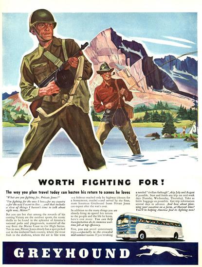 Greyhound Worth Fighting For 1943 | Vintage War Propaganda Posters 1891-1970