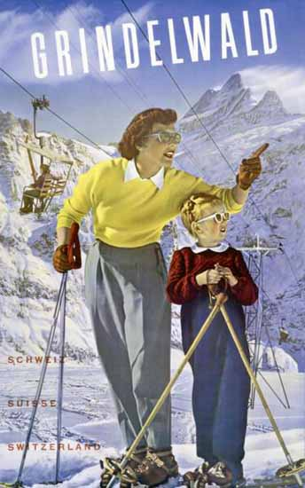 Grindelwald First Schweiz Suisse Switzerland 1943 | Vintage Travel Posters 1891-1970