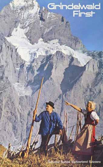 Grindelwald First Schweiz Suisse Switzerland Svizzera 1955 | Vintage Travel Posters 1891-1970
