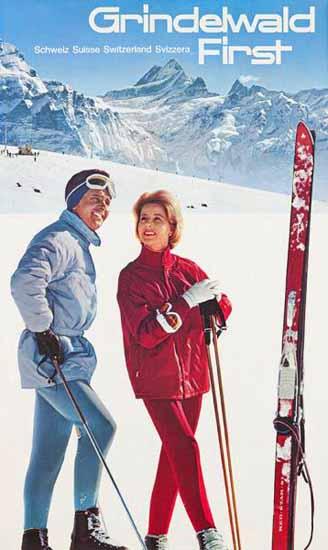 Grindelwald First Schweiz Suisse Switzerland Svizzera 1964 | Vintage Travel Posters 1891-1970