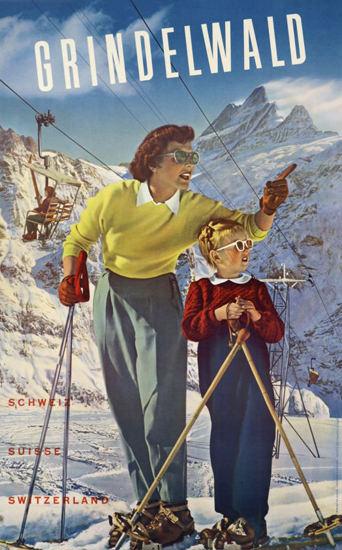 Grindelwald Suisse Schweiz Switzerland 1943 | Vintage Travel Posters 1891-1970