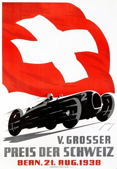 Grosser Preis Der Schweiz Bern 1938 Bieberg   Vintage Ad and Cover Art 1891-1970