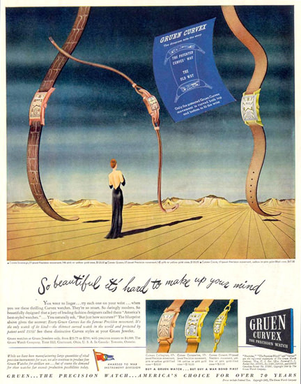 Gruen Curvex Watch Salvador Dali Style 1945 | Vintage Ad and Cover Art 1891-1970