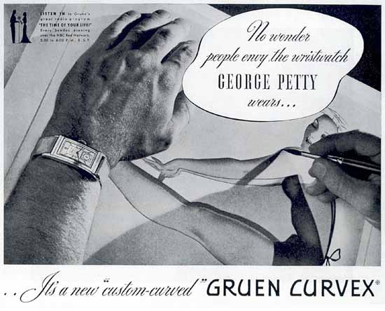 Gruen Curvex custom-curved 1937 George Petty Sex Appeal | Sex Appeal Vintage Ads and Covers 1891-1970