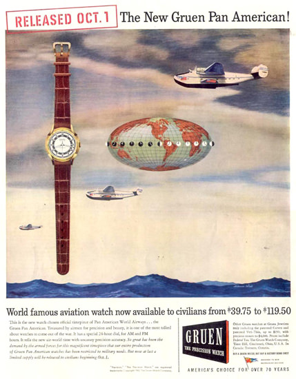 Gruen Watch Pan America 1945 | Vintage Ad and Cover Art 1891-1970