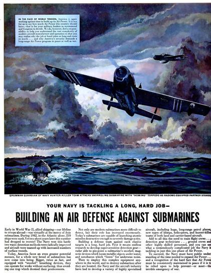 Grumman Navy Air Defense Submarines 1952 | Vintage War Propaganda Posters 1891-1970