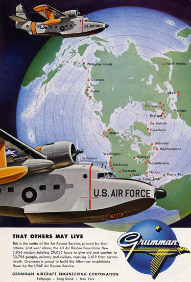 Grumman That Others May Live US AirForce 1956 | Vintage War Propaganda Posters 1891-1970