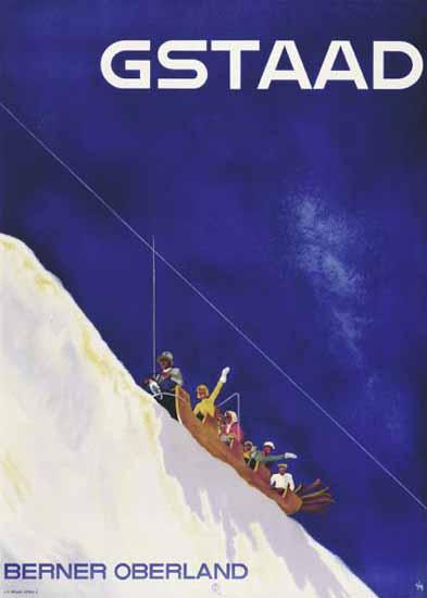 Gstaad Berner Oberland Sliing Switzerland 1937 | Vintage Travel Posters 1891-1970