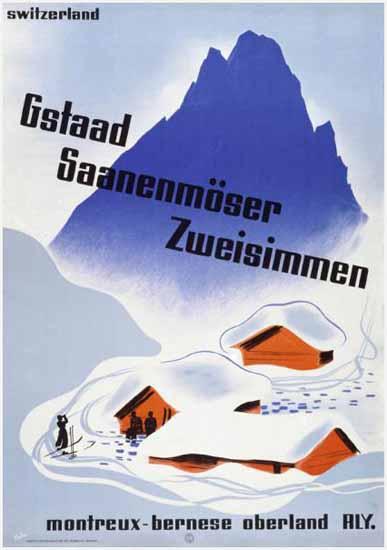Gstaad Saanenmoeser Montreux Switzerland RLY 1935 | Vintage Travel Posters 1891-1970