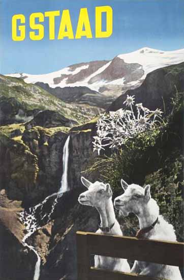 Gstaad Swiss Alps Edelweiss Goats Switzerland1939 | Vintage Travel Posters 1891-1970