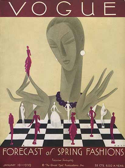 Guillermo Bolin Vogue Cover 1929-01-19 Copyright | Vogue Magazine Graphic Art Covers 1902-1958