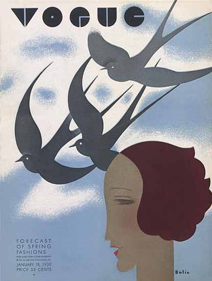 Guillermo Bolin Vogue Cover 1930-01-18 Copyright | Vogue Magazine Graphic Art Covers 1902-1958