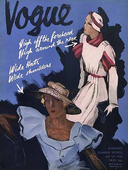 Guillermo Bolin Vogue Cover 1932-07-15 Copyright   Vogue Magazine Graphic Art Covers 1902-1958
