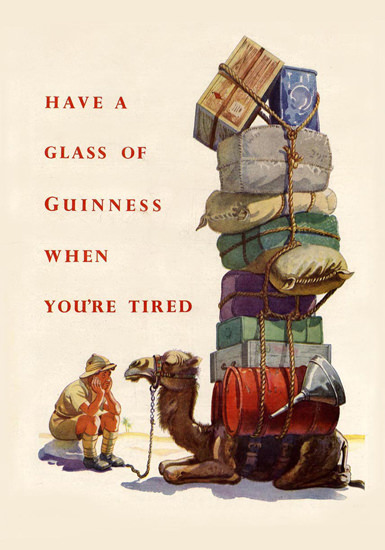 Guinness Have A Glass When Youre Tired 1945   Vintage Ad and Cover Art 1891-1970