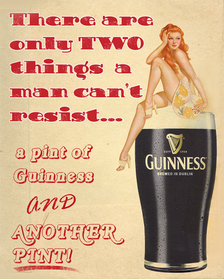 Guinness PinUp Girl Two Things Man Cant Resist | Sex Appeal Vintage Ads and Covers 1891-1970
