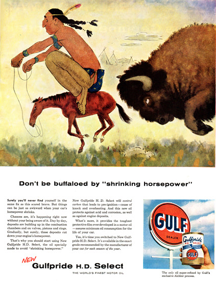 Gulf Dont Be Buffaloed 1956 | Vintage Ad and Cover Art 1891-1970