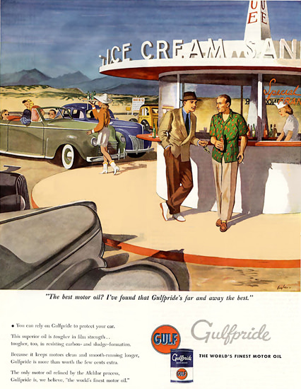 Gulf Motor Oil Ice Cream | Vintage Ad and Cover Art 1891-1970