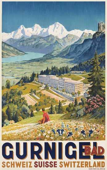 Gurnigel Bad Schweiz Suisse Switzerland 1928 | Vintage Travel Posters 1891-1970