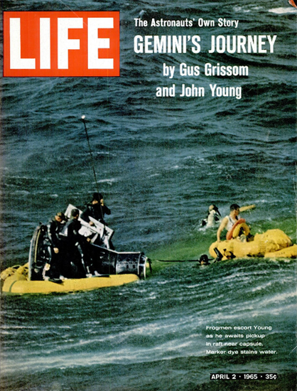 Gus Grissom John Young Gemini 2 Apr 1965 Copyright Life Magazine | Life Magazine Color Photo Covers 1937-1970