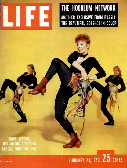 Gwen Verdon knocks Broadway cold 23 Feb 1959 Copyright Life Magazine | Life Magazine Color Photo Covers 1937-1970