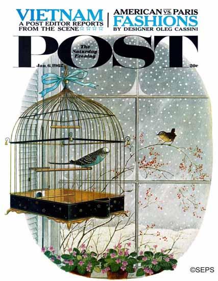 Gyo Fujikawa Saturday Evening Post Bird Talk 1962_01_06 | The Saturday Evening Post Graphic Art Covers 1931-1969