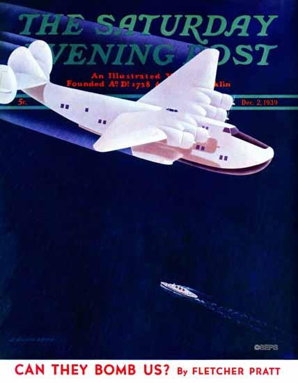 H Wilson Smith Saturday Evening Post Propeller Plane 1939_12_02 | The Saturday Evening Post Graphic Art Covers 1931-1969