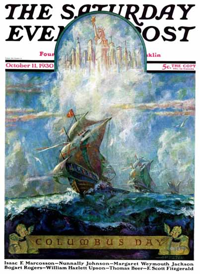 HW Tilson Saturday Evening Post Columbus Day 1930_10_11 | The Saturday Evening Post Graphic Art Covers 1892-1930