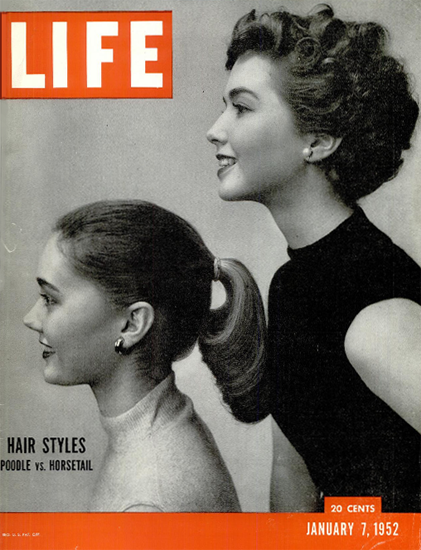 Hair Style Poodle vs Horstail 7 Jan 1952 Copyright Life Magazine | Life Magazine BW Photo Covers 1936-1970