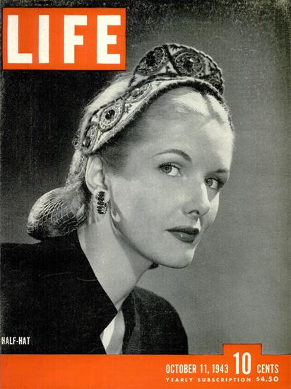 Half-Hat 11 Oct 1943 Copyright Life Magazine | Life Magazine BW Photo Covers 1936-1970