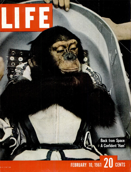 Ham back from Space USS Donner 10 Feb 1961 Copyright Life Magazine | Life Magazine Color Photo Covers 1937-1970