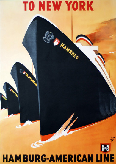 Hamburg-American Line New York 1936 | Vintage Travel Posters 1891-1970