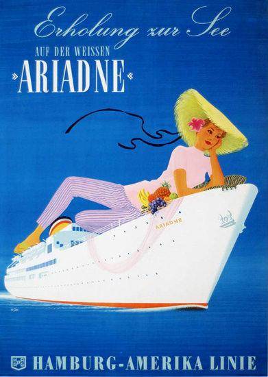 Hamburg-Amerika Linie Erholung Ariadne 1958 | Sex Appeal Vintage Ads and Covers 1891-1970